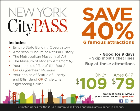 Discount will be added to your order during checkout at Box Office Tix. CityPASS is valid for 9 days, beginning the first day you use your CityPASS booklet to visit an attraction. Terms and conditions apply; see link above for all details. New York CityPASS program and price are subject to change.