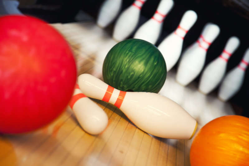 bowling ball, pins, alley, green, red, white, bowl