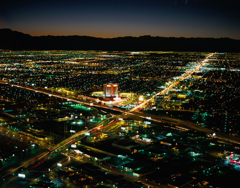 Getty Images, photo disk V74: US Landmarks and Travel 2 Horizontal, Aerial View, Photography, Color Image, Nobody, Long Exposure, Outdoors, Las Vegas, Black, Illuminated, Night, Urban Scene, Cityscape, Travel Destinations, City Location