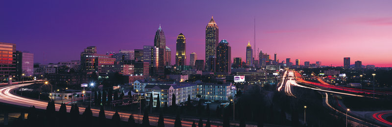 US City Panoramics - Horizontal, Photography, Series, Color Image, Nobody, Long Exposure, Panoramic, Outdoors, City Street, Atlanta, Illuminated, Dusk, Night, Building Structure, Purple, Skyline, Pink, Urban Scene, Famous Place, Multiple Lane Highway, Travel Destinations, Cit