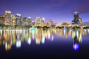 Night shot Lake Eola in the city of Orlando Florida